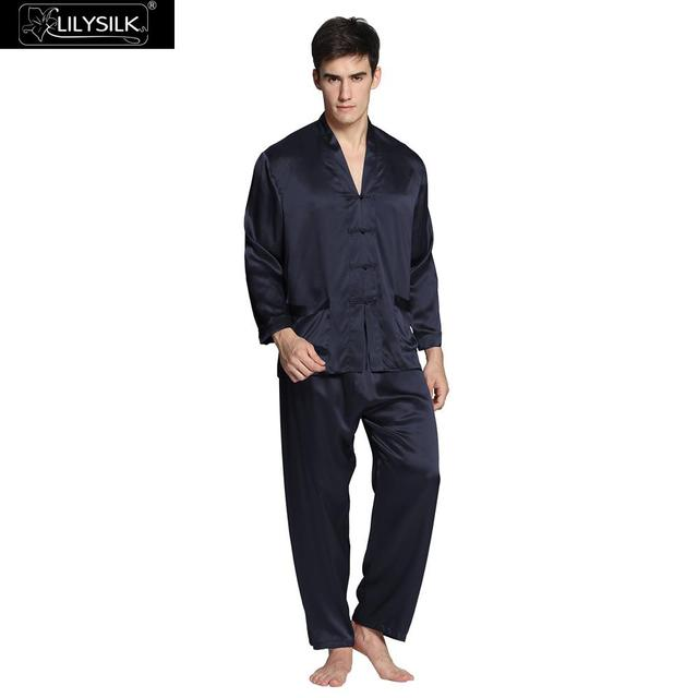 LilySilk 100 Silk Pajamas Set For Men Sleepwear 22 momme Long Sleeve V Neck Elastic Waist Chinese Button Male Free Shipping