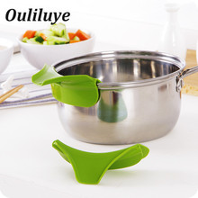 1PCS Silicone Pour Spout For Kitchen Gadget Cooking Soup Anti Spill Funnel Multifunction