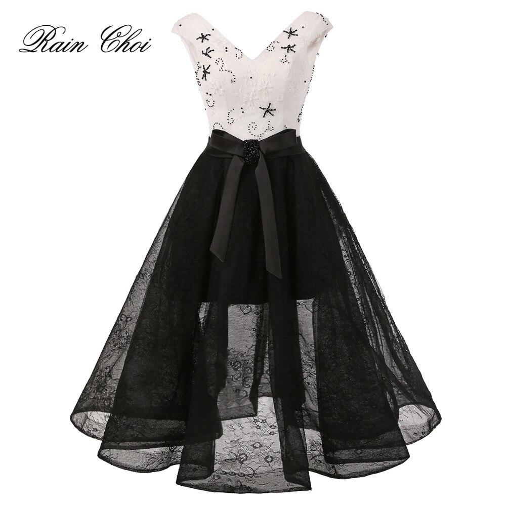 Елегантні чорні мереживні вечірні сукні 2019 V шиї Вечірні сукні вечірнього плаття Вечірнє плаття Vestido De Festa