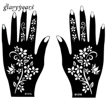 Hot 1 Pair Indian Henna Tattoo Stencil Flower Pattern Design Colored Henna Paste Drawing For Women Body Hands Art 20 x 11cm S131