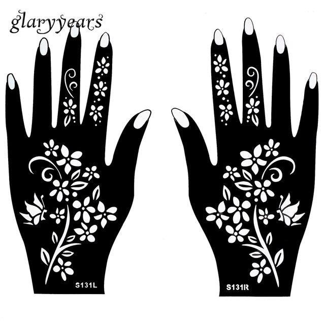 chaude 1 paire indien tatouage au henn pochoir fleur motif conception de couleur p te de henn. Black Bedroom Furniture Sets. Home Design Ideas