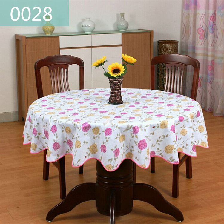 Table Skirt PVC Round Protection Against Oil Disposable Water Hot  Environmental Thickening Plastic Table Cloth Round Table  In Tablecloths  From Home ...