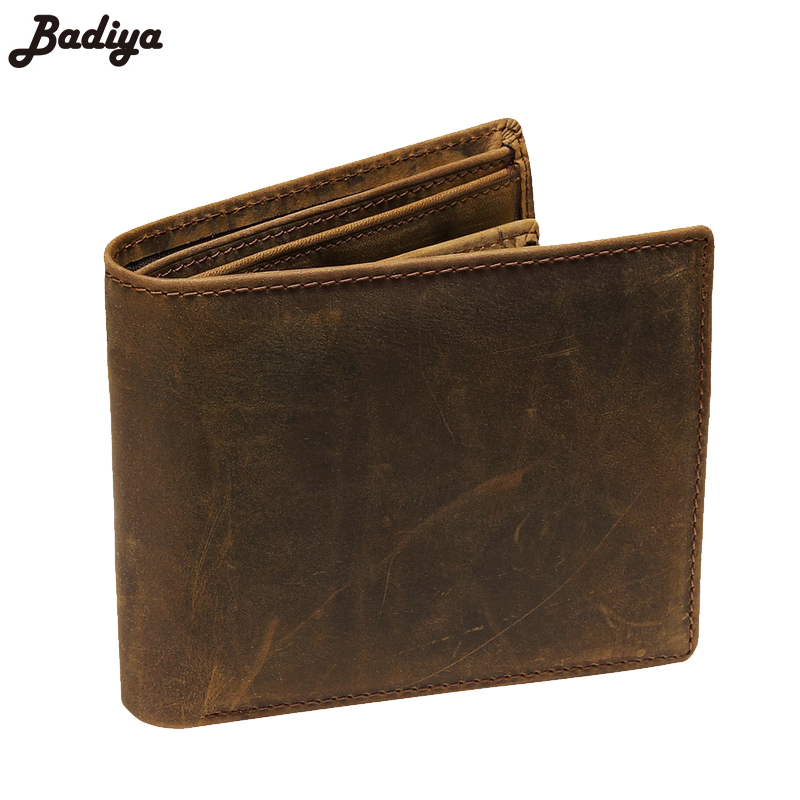 Famous Brand Crazy Horse Genuine Leather Men Bifold Wallets Vintage Thin Wallet Card Holder Bags Classic Short Solid Purse zelda wallet bifold link faux leather dft 1857