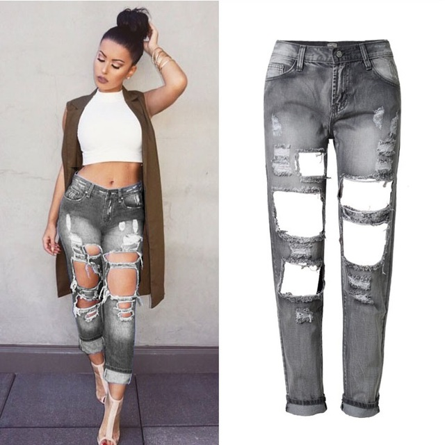 3ecf046263f34b Summer Baggy Ripped Jeans Femme High Waist Destroyed Boyfriend Jeans for  Women Loose Pants with Hole