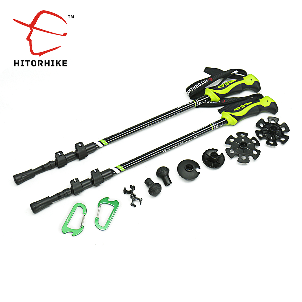 7075 Aluminum Alloy walking <font><b>stick</b></font> Adjustable 3 Sections Telescopic <font><b>sticks</b></font> for Nordic walking Hiking <font><b>Stick</b></font> trekking poles basket