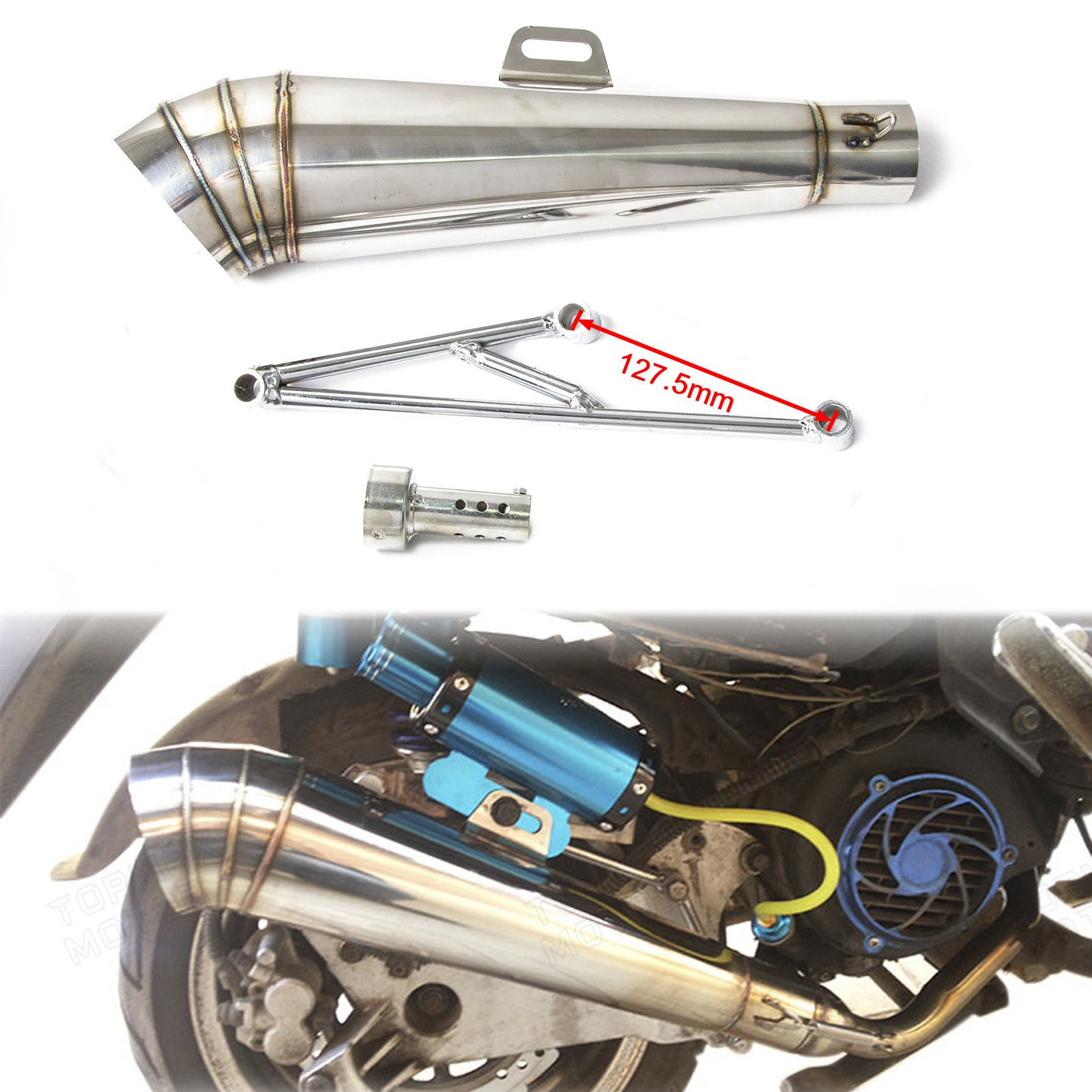 Exhaust Muffler System header exhuast pipe GP style muffler For Honda Ruckus / Zoomer / GY6 125cc or 150cc Scooters