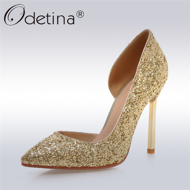 Odetina 2017 New Fashion Women Glitter High Heels Pointed Toe D'orsay Ladies Stiletto Sexy Pumps Party Wedding Shoes Big Size 43 odetina 2017 new women 12 cm gradient heels slip on extreme high heel stiletto pumps sexy party shoes pointed toe big size 33 43
