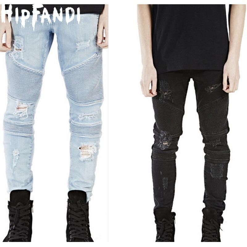 HIPFANDI Destroyed Mens Slim Denim Straight Biker Skinny Jeans Men Ripped Jeans  Represent Clothing Designer Pants  Blue/Black