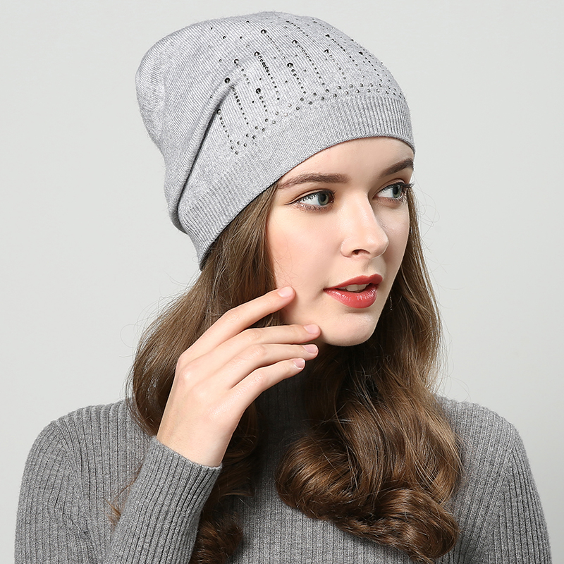 JIYOUOU winter hats for women Double layer   Skullies     Beanies   Rabbit hats 2018 New diamond women's hat knitted cap Khaki wholesale