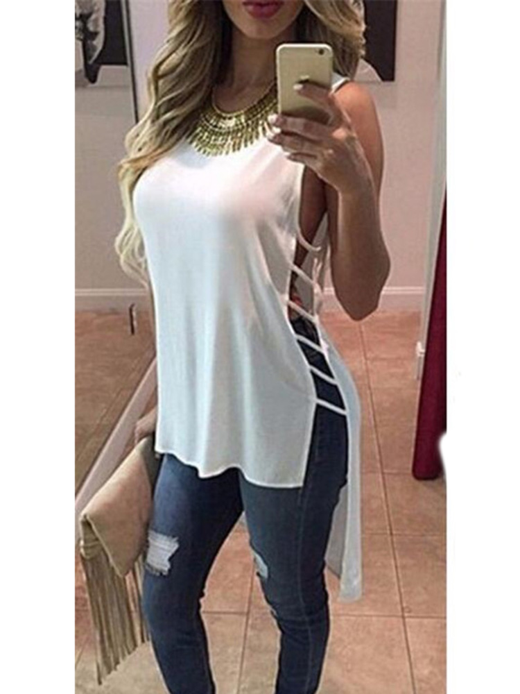 Loose Shirt Tail-Tops Blouse Sleeveless Casual-Tank Fashion Women Summer Round-Neck Side