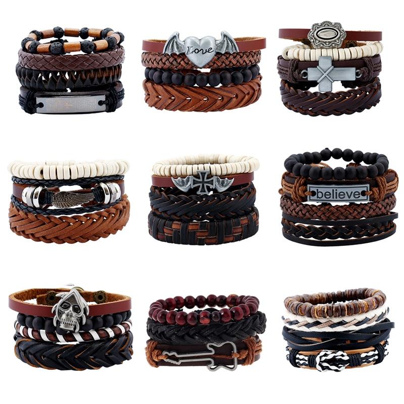 4 Pcs Vintage Multilayer Pu Leather Bracelets For Male Cuff Bracelet Beads Braclet Braslet Men Pulseras Hombre Sale Dropshipping Браслет