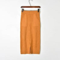 Winter New Strip Thick Front Split hole Double Pocket Knitted Half skirt One step Women Skirts Haute Couture