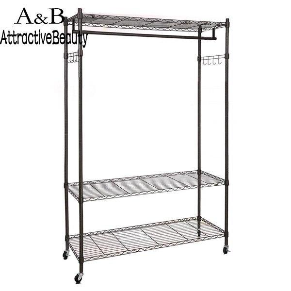 Homdox Large Portable 3-Tier Wire Shelving Clothes Shelf Garment Rack + Side Hooks + Wheels
