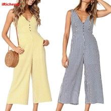 iRicheraf Fashion Striped Women Jumpsuit Sleeveless Deep V Neck Streetwear Loose Jumpsuits Rompers Plus Size S-3XL Blue Yellow