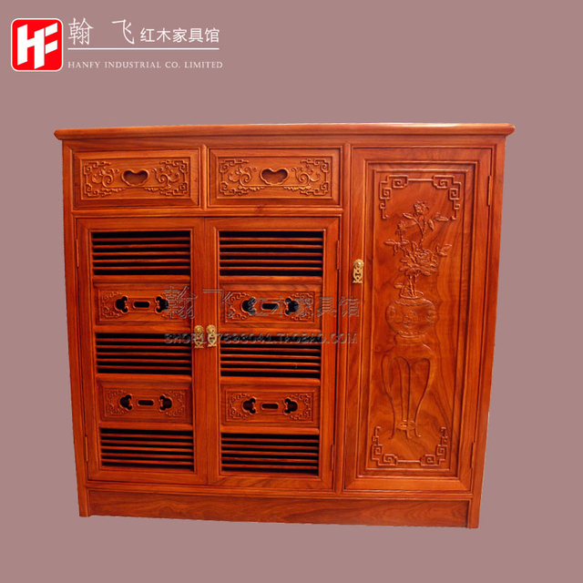 chinese antique furniture wood carving mahogany african rosewood solid shoe storage cabinet 3 door with doors o18 cabinet