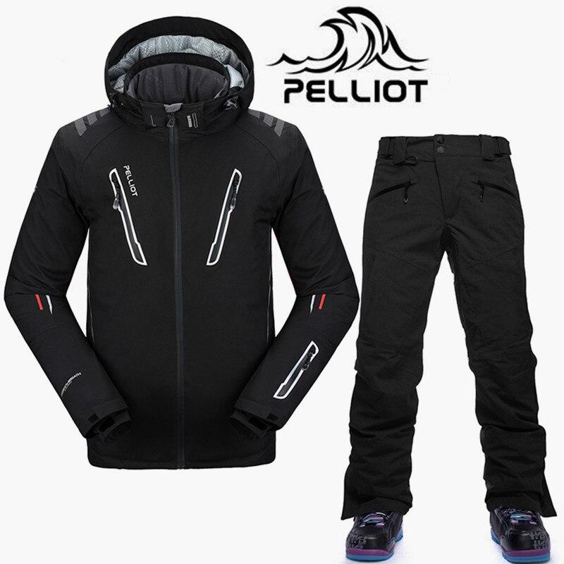Pelliot -30 Degree Brand Ski Suit Men Waterproof 10K Ski Jacket Snowboard  Pants Male Breathable Snowboarding Suits Snow Outdoor a5e4ea6f5