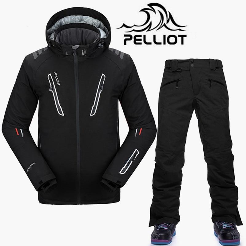 Pelliot-30 Gradi di Marca Tuta Da Sci Da Uomo Impermeabile 10 K Ski Giacca Da Snowboard Pantaloni Maschili Traspirante Snowboard Tute Da Neve outdoor