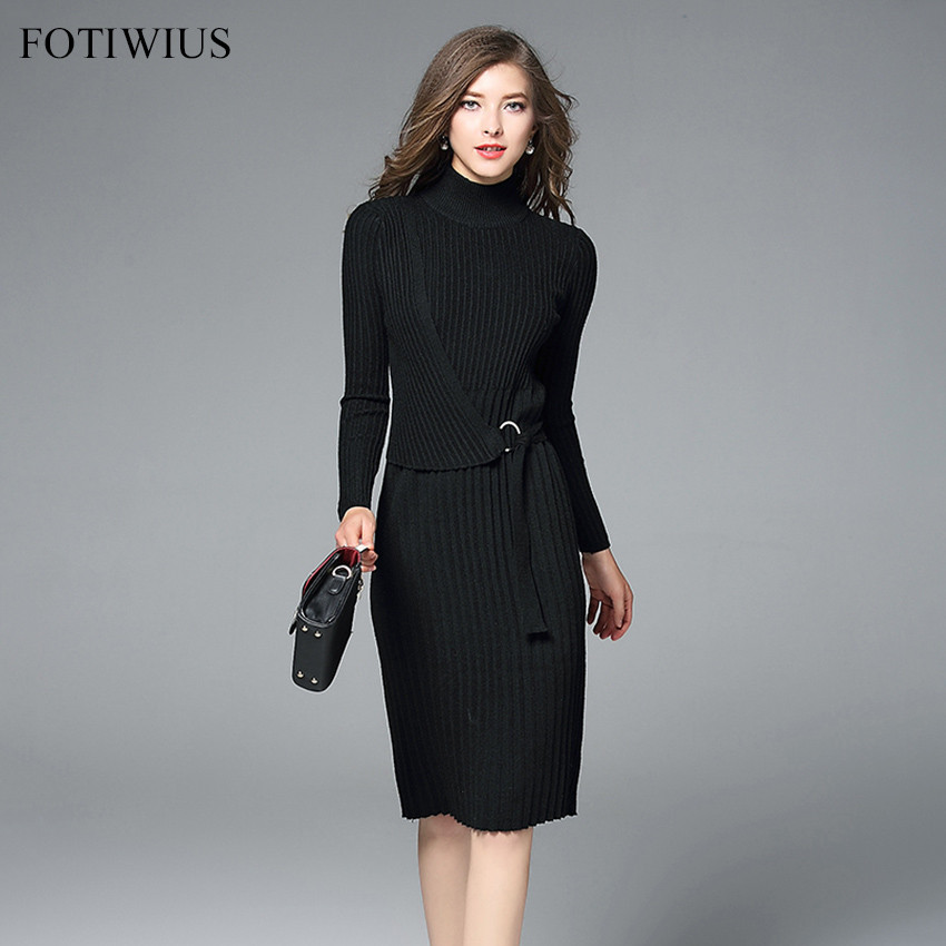 Ladies Winter Turtleneck Sweater Dresses Women Long Sleeve Slim Black Knitted Dress 2018 New Spring Bodycon Dress Vestidos