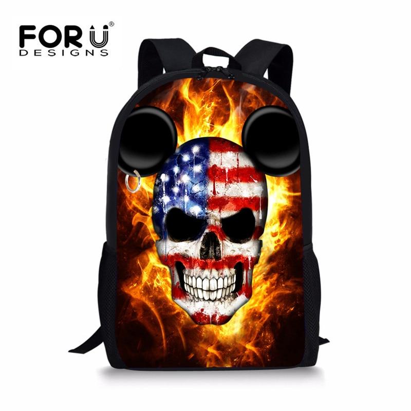 FORUDESIGNS Cool Skull Backpacks for Girls Boys,3D Printing Teenage Children School Book Back Bag,Large Kids Bagpack mochila