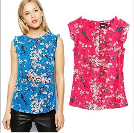 45e6b1dae1ca5 Nueva moda elegante estampado floral azul ruffles blusas O cuello sin  mangas ocasional camisa delgada tops