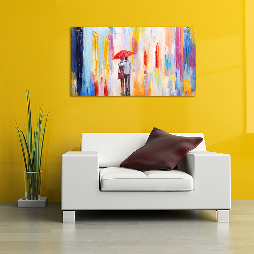 Lovers in the Rain Red Umbrella Romantic Wall Pictures Abstract Oil ...