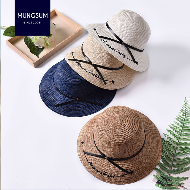 0a465751a55 Summer Women Sun Hat Ladies Wide Brim Straw Hats Outdoor Foldable Beach  Panama Hats Church Bone Chapeu Feminino sun hats