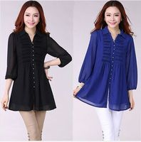 Summer 2015 fashion chiffon WOman High QUality blouse shirt three quarter sleeve Long women female tops plus size 5xl,6xl