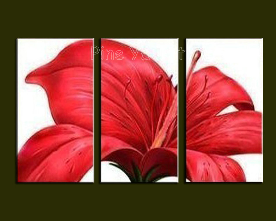 3 Piece Abstract Modern Canvas Wall Art Decorative Red