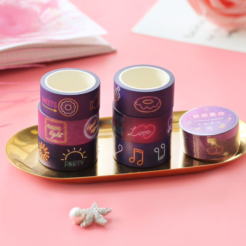 Tapes, Adhesives & Fasteners Ingenious 5 Pcs Neon Light Signs Paper Washi Tape Decoration City Light Purple Adhesive Tapes Sticker Album Mobile Decoration Tools Ej827 Chills And Pains