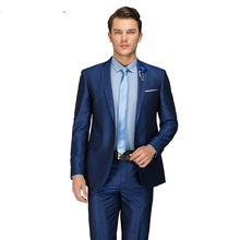 2019 Blue Mens Luxury Custom Made Suits Single Breasted Male Slim Fit Suit One Button Wedding Business Fashion Tuxedo