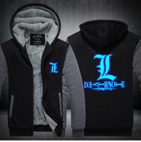 Death Note Shinigami Ryuk Letter L Marks Zipper Thicken Fleece Cosplay Costume Hoodie Jacket Coat Sweater