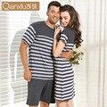 2016 Verão Desgaste Salão de Pijama Tarja Clássico-manga Curta calças de Pijama Masculino Definir