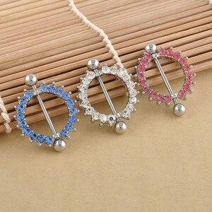 1 sztuk Rhinestone sutek Piercing moda Piercing Gem betonowa koło tarcza Piercing pierścionki biżuteria do ciała dla kobiet dziewczyn