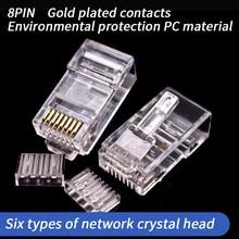 100Pcs 8Pin Cat6 RJ45 Connector Modular Ethernet Gigabit Unshielded Network Cable Head Plug Gold-plated Cat 6 RJ 45