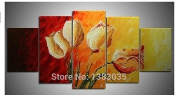 Hand Painted Abstract Rose Paintings Flower Picture 5pcs Modern Wall Art Canvas Decoration Set For Home