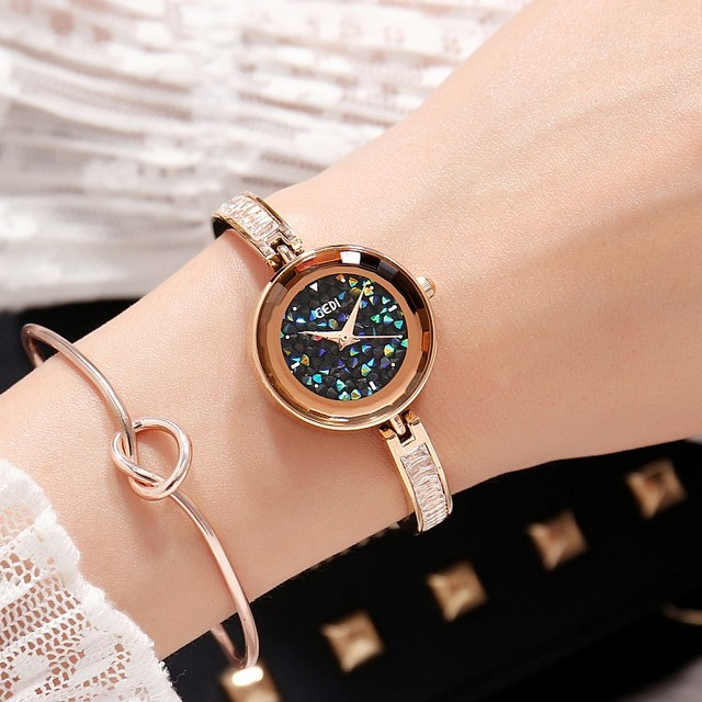 2019 Hot GEDI Fashion Rose Gold Women Watches Top Luxury Brand Ladies Quartz Watch 2 Pieces Watches Small Dial Clocks Hours