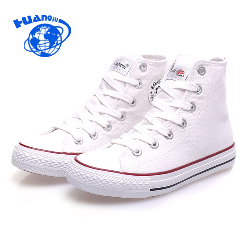 Huanqiu Spring New Canvas Shoes Casual Lace Up Woman High Top Flats Fashion Breathable White Shoe Plus Size 35-40 2e50