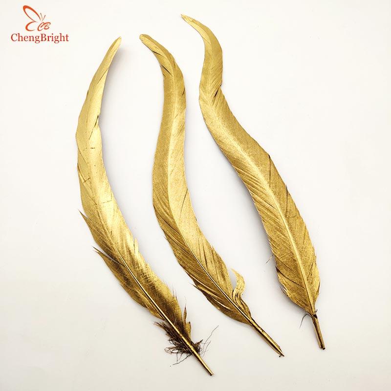 ChengBright Groothandel Goede 100 PCS 30 35 CM Goud Natuurlijke Haan staartveren Voor Decoratie Craft Feather Christma Diy veer-in Veer van Huis & Tuin op  Groep 1