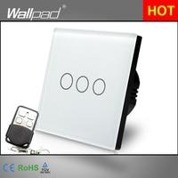 EU UK 110V 250V Wallpad White Crystal GlassTouch 3 Gang RF433 Wireless Remote Control Sensor Light