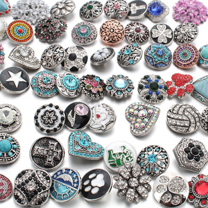 Image 5 - 50pcs/lot Mixed Style 18mm Metal Snap Buttons Jewelry 50 Designs Ginger Crystal Snap Fit 18mm Snap Bracelet Bangles Necklace