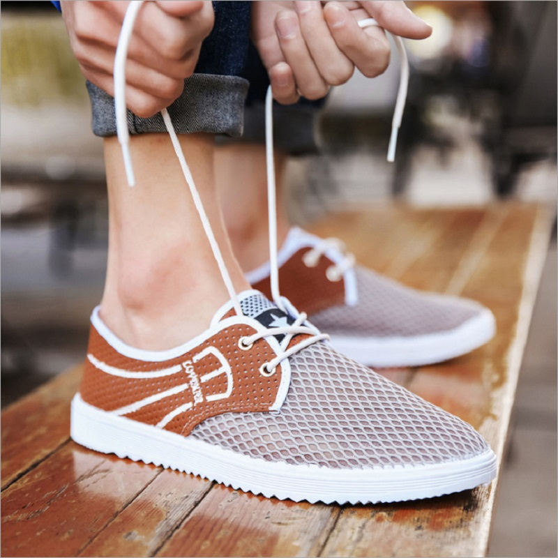 Men Casual Shoes Breathable Lace-Up Walking Shoes Spring Lightweight Comfortable Walking Men Shoes Mesh Q0215 men casual shoes lace up mesh men outdoor comfortable shoes patchwork flat with breathable mountain shoes 259