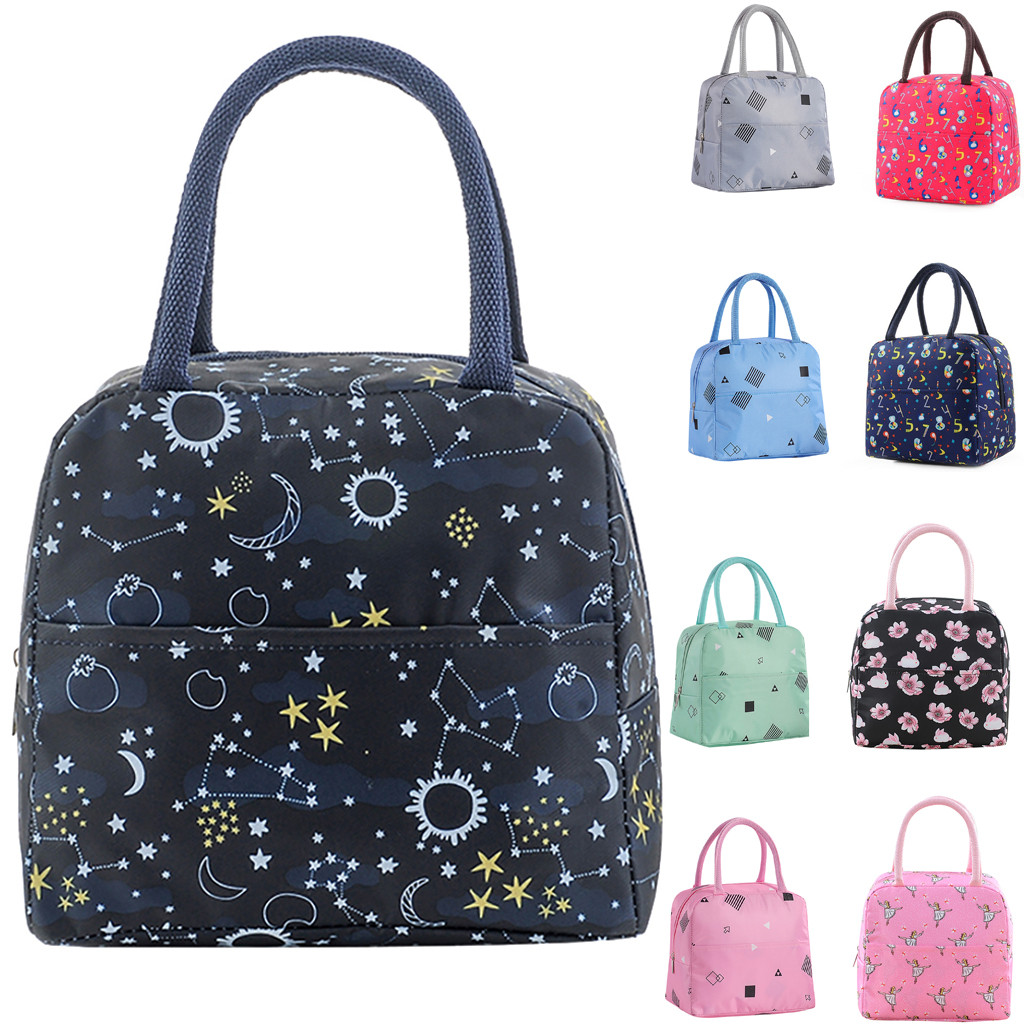 Printed Reusable Lunch Box Tote Bag Insulated Lunch Bags Grocery Pouch For Women Men Kids Work School Picnic Camping