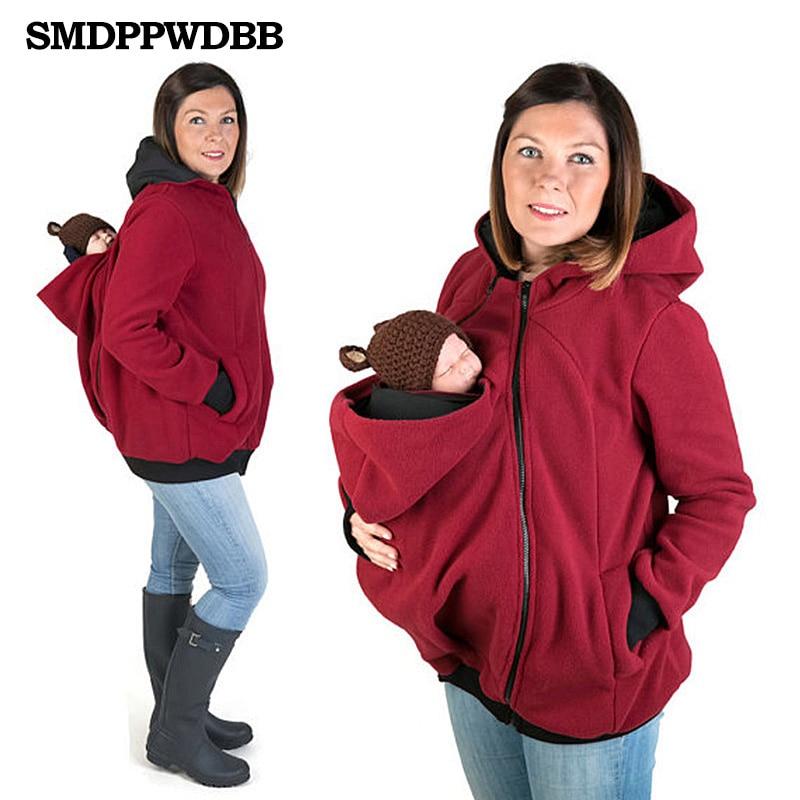 SMDPPWDBB Autumn Winter Maternity Clothes Wool Baby Wearing Pregancy Coat Women Hoodie Baby Carrier Kangaroo Outerwear Coat