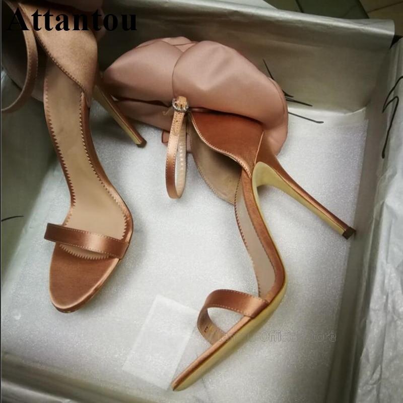 Summer Pink Black Satin Smooth Leather Handmade Flower High Heel Sandals Women Stiletto 10cm Heels One