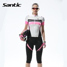 Santic 2017 Women Breathable Cycling Jersey Summer Quick Dry Short Sleeve MTB Bike Riding Shirts Reflective