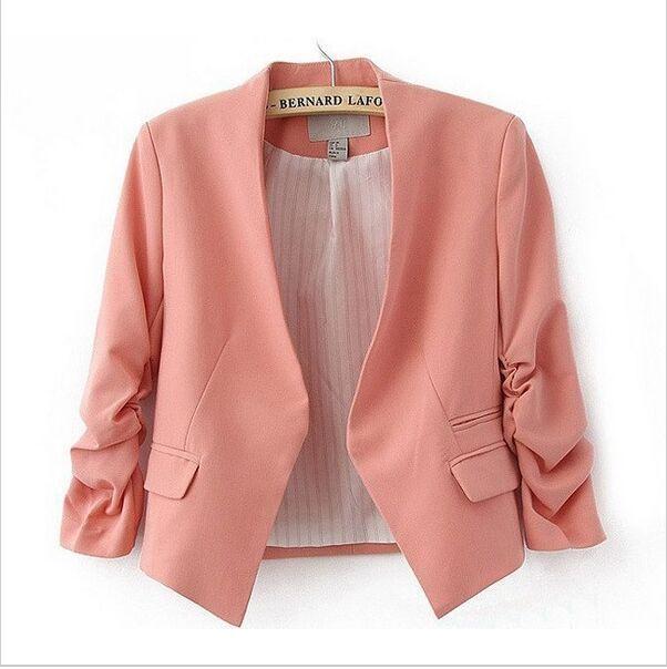 2016 Мода Основные Куртка Blazer Женщины Костюм Кардиган Puff Рукавом Дамы Осень Плюс Размер Бренда Пальто Случайный пиджак женский
