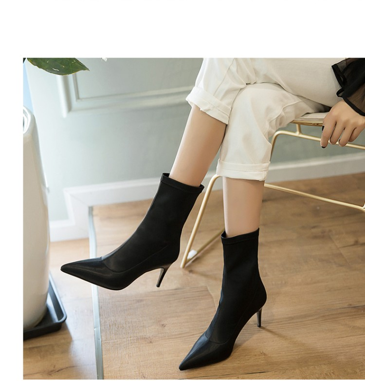 donna Nero per Stivaletti Style 6cm Moda elasticizzati Street tacchi  Stivaletti sottili Donna da Scarpe alti ... 0d4f51f5170