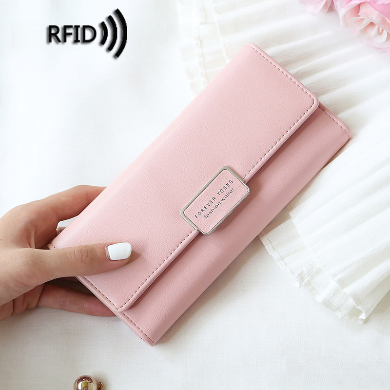 Women RFID Theft Protect Long Wallet Card Holder Coin Purses Clutch Phone Bag Female Fashion PU Leather Solid Wallets Carteras