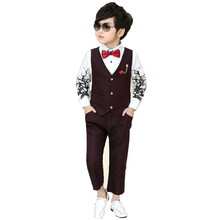 цены 2019 NEW 2Pcs Boys Spring Formal Wedding Vest +Pants Suit Boys Wedding Sets Boy's Clothing Party Clothes Boy Suits Formal