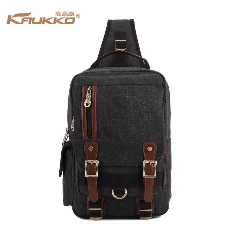 KAUKKO Sling Chest Pack Vintage Canvas Crossbody Tablet Bag Men Women School Casual Handbag Black Khaki string sling pack